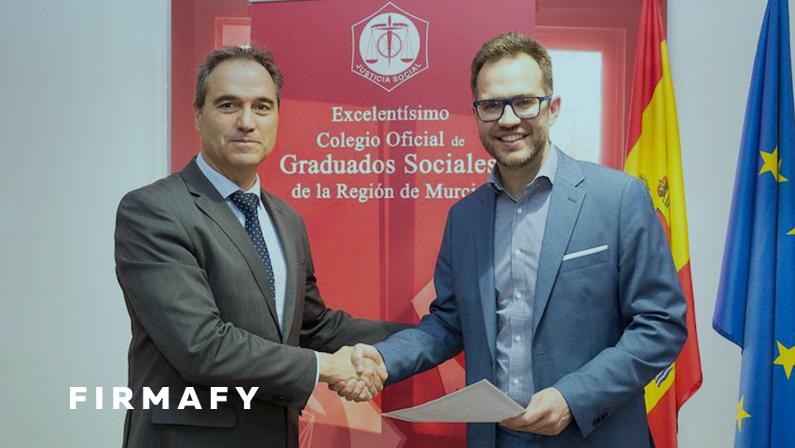 Firmafy firma un acuerdo con el Colegio de Graduados Sociales de Murcia