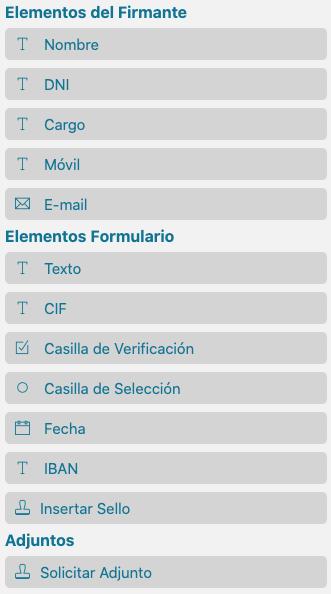 Panel izquierdo del formulario de Firmafy