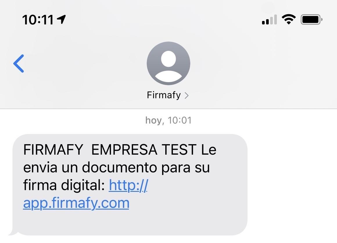 SMS con enlace para firmar con Firmafy