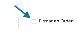 Casilla firmar en orden en Firmafy