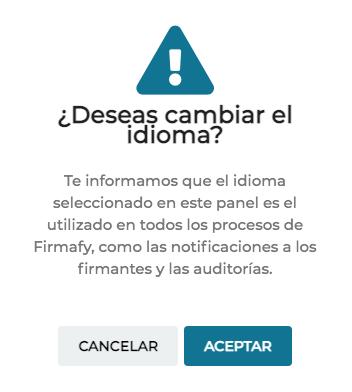 cambiar el idioma en Firmafy, aviso sobre qué documentación se cambia