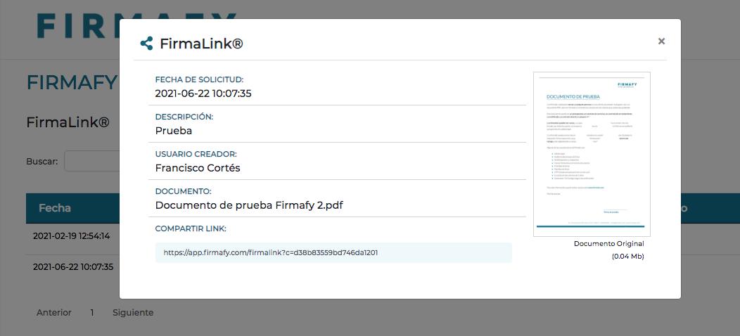 Dónde ver el enlace Firmalink de Firmafy